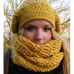 Mütze Schal Set Damen Senf