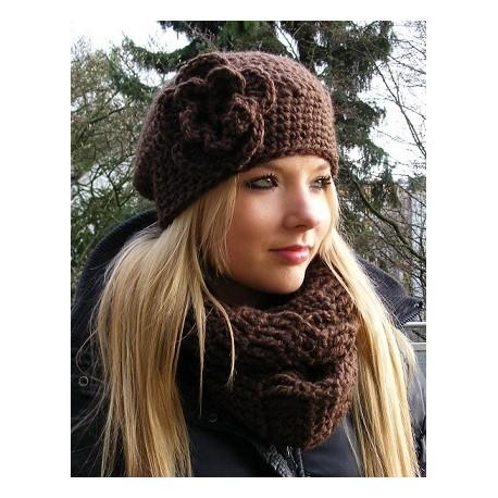 Mütze Schal Set Damen Braun Beanie Loop aus kuscheliger Wolle gehäkelt. Handarbeit. Farbe, KU 54-62 nach Wunsch.