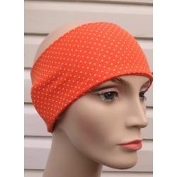 Haarband Sport Damen mit Punkten Orange Weiß aus Jersey genäht. Zum Wenden. Farbe, KU 54-62 nach Wunsch.