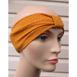 Stirnband Sommer Damen Partnerlook Senf Punkte Gelb aus Jersey genäht. Zum Wenden. Farbe, KU 54-62 nach Wunsch.