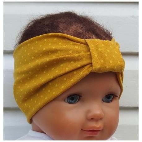 Stirnband Mädchen Sommer Senf Gelb Punkte aus Jersey genäht. Für Babys und Kids. Farbe, KU 36-55 nach Wunsch.