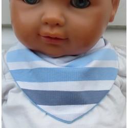Dreieckstuch Junge Jersey mit Streifen Blau Weiß zum Wenden genäht. Stirnband im Shop. Verschluß, 0-10 Jahre nach Wunsch.
