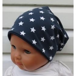 Wintermütze Jungs Sterne Dunkelblau aus Jersey genäht. Fürs ganze Jahr auch mit Fleece. Farbe, KU 39-55 nach Wunsch