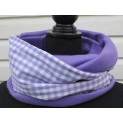 Loop Schal Damen kariert in Flieder Weiß mit Fleece genäht. Handarbeit. Auch zum Knoten. Farbe nach Wunsch.