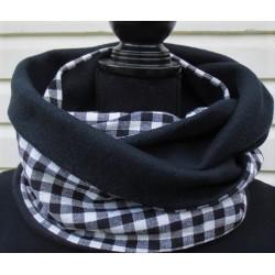 Damen Schal Winter kariert Schwarz Weiß mit Fleece genäht. Handarbeit. Auch zum Knoten. Farbe nach Wunsch.