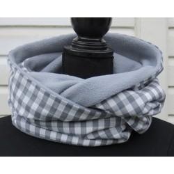 Männer Schal Winter kariert Grau aus Baumwolle mit Fleece zum Wenden genäht. Zum Knoten oder als Schlauch.