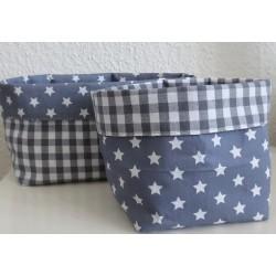 Stoffkörbchen Set Sterne Grau Weiß und kariert genäht. Aus Baumwolle zum Wenden. Farben gerne nach Wunsch.