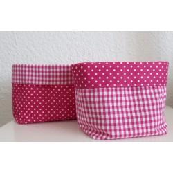 Utensilo Wickeltisch Baby Set Pink Punkte kariert zum Wenden genäht. Aus Baumwolle. Farben nach Wunsch.