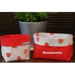 Utensilo Baby Stoffkorb mit Erdbeeren im Set schön genäht. 2-teilig aus Baumwolle zum Wenden. Handarbeit.