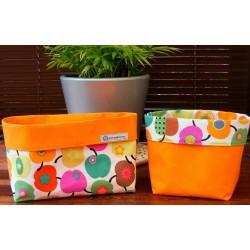 Stoffkorb Baby Utensilo Set mit Äpfel Orange Bunt aus Baumwolle genäht. So hübsch. Farbe nach Wunsch.