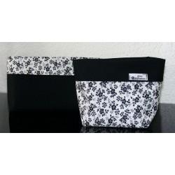 Utensilo Stoffkorb Bad Set elegant Schwarz Weiß Blumen genäht. Aus Baumwolle zum Wenden. Handarbeit.