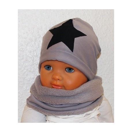 Mütze Schal Set Kinder Jungs Grau mit Stern Schwarz aus Jersey zum Wenden genäht. Farbe, KU 39-55 nach Wunsch.