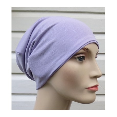 Winter Beanie Damen Jersey Mütze Long Flieder zum Wenden genäht. Schals im Shop. Farben, KU 54-62 nach Wunsch.