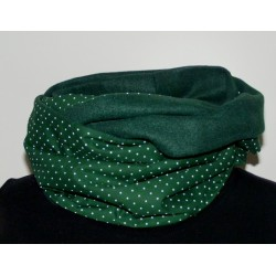 Schlauchschal Damen Grün Fleece Punkte Baumwolle genäht. Handarbeit. Auch zum Knoten. Farbe nach Wunsch.