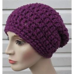 Woll Beanie Damen Mütze in Lila aus dicker Wolle gehäkelt. Handarbeit. Schal im Shop. Farbe, KU 54-62 nach Wunsch.