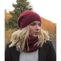 Mütze Schal Set Damen Wolle Bordeaux mit Beanie Loop gehäkelt. Liebevolle Handarbeit. Farbe, KU 54-62 nach Wunsch.