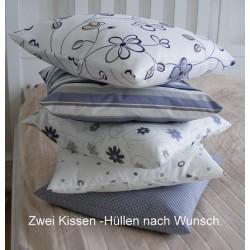 Kissen Set Landhaus Grau in schönen Designs nach Wahl genäht. Mit Hotelverschluß. 40x40, 45x45 nach Wunsch. Handarbeit.