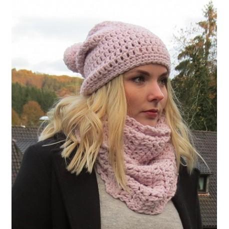 Mütze Schal Damen Set Rosa Bommel Wolle mit Long Beanie Loop gehäkelt. Handarbeit. Farbe, KU 54-62 nach Wunsch.