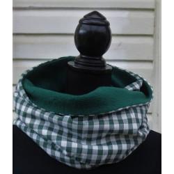 Schlauchschal Herren Loop kariert Grün aus Baumwolle mit Fleece genäht. Auch zum Knoten. Farbe nach Wunsch.