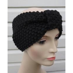 Stirnband Damen gestrickt Schwarz Winter mit Perlmuster. Handarbeit. (Höhe ca. 13 cm) Farbe, KU 54-62 nach Wunsch.