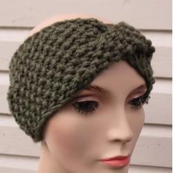 Stirnband Winter Damen Kopfband Khaki aus Wolle gestrickt. Mit Perlmuster Twister. Handarbeit. KU 54-62 nach Wunsch.