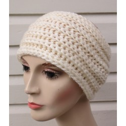 Stirnband Winter Damen Creme gestrickt aus Wolle mit Patentmuster. Handarbeit. Farbe, KU 54-62 cm nach Wunsch.