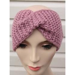 Stirnband Twister Turban Damen für den Winter Altrosa von Hand gestrickt. Handarbeit (Höhe 12 cm). KU 54-62 nach Wunsch.