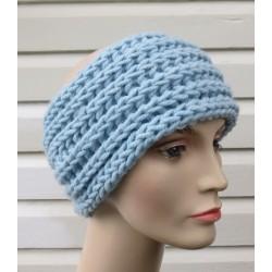 Stirnband gestrickt Damen Blau Winter aus Wolle. (Höhe ca. 13-14 cm) Liebevolle Handarbeit. Farbe, KU 54-62 nach Wunsch.