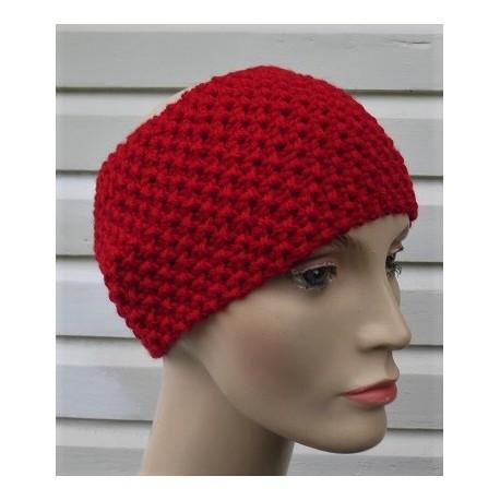 Stirnband Winter Damen Rot gestrickt aus Wolle mit Perlmuster. Handarbeit (Höhe ca. 12 cm). Farbe, KU 54-62 nach Wunsch.