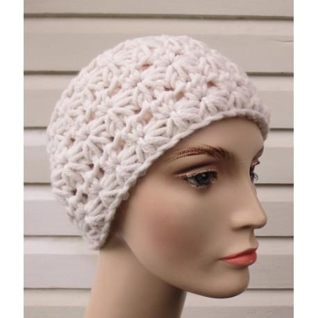 Stirnband Ohrwärmer Strick Damen Creme Winter aus Wolle mit Sternenmuster. Farbe, KU 54-62 nach Wunsch.