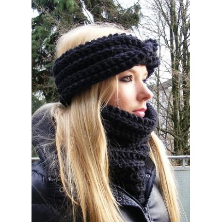 Stirnband Damen Winter Schwarz extra breit gestrickt. Handarbeit. Farbe, KU 54-62 nach Wunsch. Schal im Shop.
