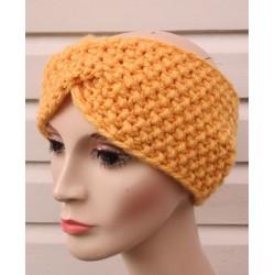Stirnband Winter Twist Damen Senf gestrickt mit Perlmuster aus Wolle. Handarbeit. Farbe, KU 54-62 cm nach Wunsch.