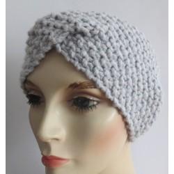 Stirnband gestrickt Twister für Damen Grau Winter aus Wolle. Handmade. Farbe, KU 54-62 cm nach Wunsch.
