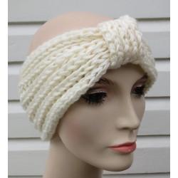 Damen Stirnband Haarband Winter Creme gestrickt aus Wolle mit Patentmuster. KU 54-62 cm, Farbe nach Wunsch.