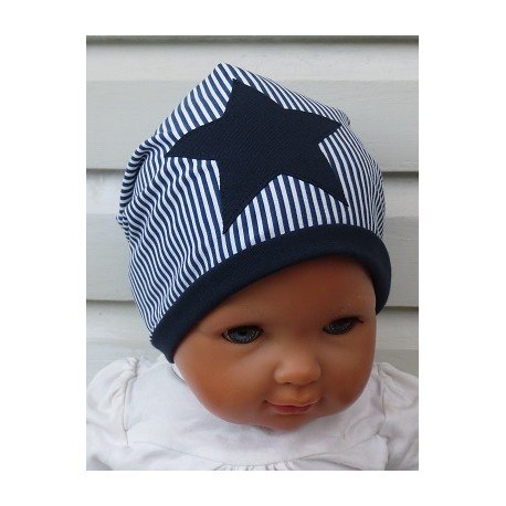 Beanie Mütze Kinder Stern für Jungs Blau Weiß Streifen Ringel zum Wenden genäht. Cool als Long. Farbe, KU 39-55 nach Wunsch.