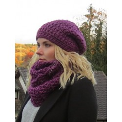 Beanie Mütze mit Loop grobstrick Damen Lila aus Wolle gehäkelt. Long Haube. Handarbeit. Farbe, KU 54-62 nach Wunsch.