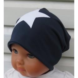 Beanie Mütze Junge Stern Long Blau Weiß Sommer Winter aus Jersey genäht. Auch mit Fleece. Farbe, KU 39-55 nach Wunsch.