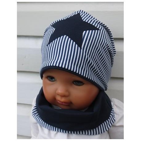 Mütze und Schal Kinder Junge Stern Dunkelblau gestreift aus Jersey genäht. Set mit Long Beanie. Farben, KU 39-54 nach Wunsch.