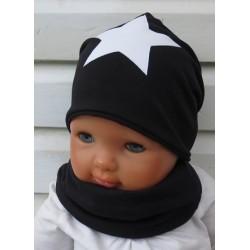 Jungen Mütze Schal Set Stern Schwarz Weiß aus Jersey genäht. Cool auch mit Fleece. Farben, KU 39-55 nach Wunsch.