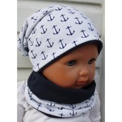 Mütze Schal Set Kinder mit Anker für Jungen Weiß Dunkelblau aus Jersey genäht. Mit Long Beanie. KU 39-55 nach Wunsch.