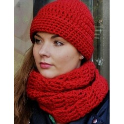 Wintermütze Damen Rot auch als Long Beanie tragbar mit Umschlag gehäkelt. Angebot eine Haube. Farbe, KU 54-62 nach Wunsch.