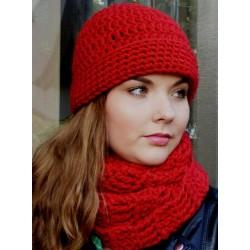Mütze Schal Set Damen Rot Wolle mit Loop gehäkelt. Auch als Long Beanie tragbar. Farbe, KU 54-62 nach Wunsch.