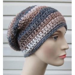 Beanie Mütze mit Farbverlauf Beige Damen Winter aus Wolle gehäkelt. Handarbeit als Long. Farbe, KU 54-62 nach Wunsch.