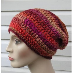 Beanie Mütze Farbverlauf Rot Damen Winter aus Wolle gehäkelt. Handarbeit. Unikat. Farbe, KU 54-62 nach Wunsch.