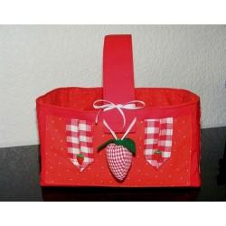 Strickkorb Wollkorb Rot kariert gepunktet mit Griff aus Baumwolle genäht. Handarbeit. Farben gerne nach Wunsch.