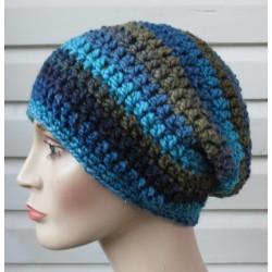 Beanie Mütze Wintermütze Damen Blau Khaki Farbverlauf aus Wolle gehäkelt. Handarbeit. KU 54-62 nach Wunsch.