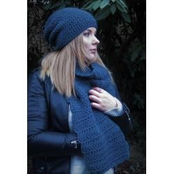 Herren Schal Winter Jeansblau zum Knoten aus Wolle gehäkelt. Handarbeit. 22x160 cm. Farbe nach Wunsch.