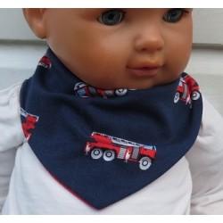 Dreieckstuch Junge Kinder Blau Rot mit Fahrzeugen aus Jersey genäht. Zum Wenden. Verschluß, Ca. 0-10 Jahre nach Wunsch.