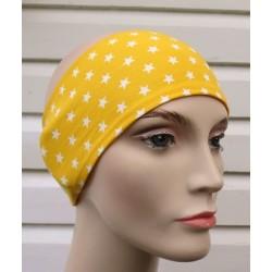 Stirnband Sport Damen Sommer Gelb Sterne Weiß aus Jersey genäht. Zum Wenden. KU 54-62 cm nach Wunsch.