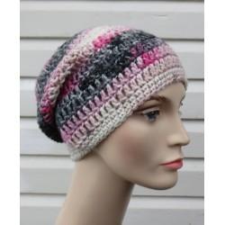 Häkelmütze Damen Winter Farbverlauf Pink Long Beanie aus Wolle gehäkelt. Handarbeit. 5 Farben, KU 54-62 nach Wunsch.